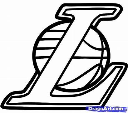 Lakers Draw Drawing Coloring Step Basketball Pages