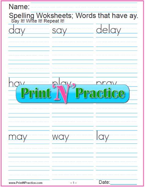 ay words phonics worksheets