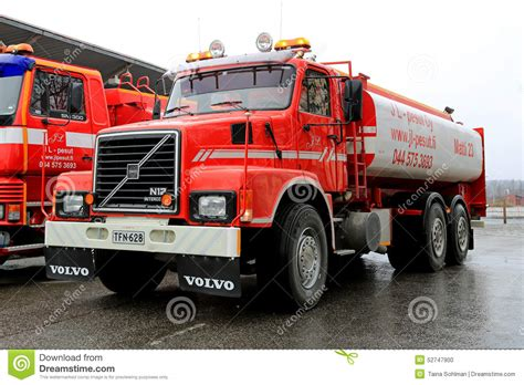 red volvo truck red volvo n12 tank truck editorial image image of front