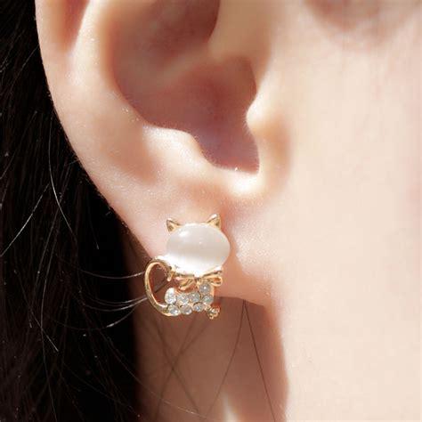 cute cat opal rhinestone earrings studs fashion earrings