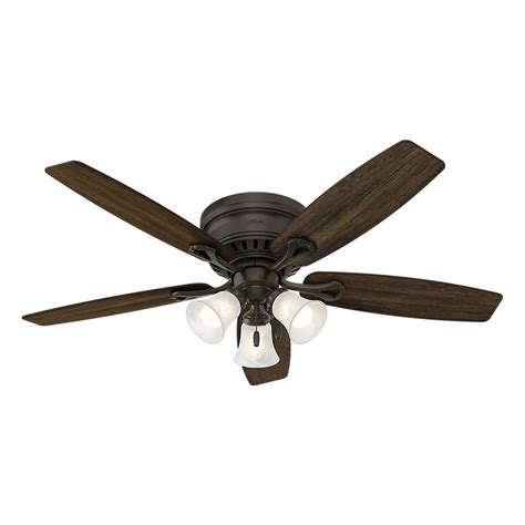 low profile ceiling fan with light hunter oakhurst 52 in led indoor low profile new bronze