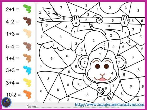 fichas de matematicas para sumar y colorear dibujo 2