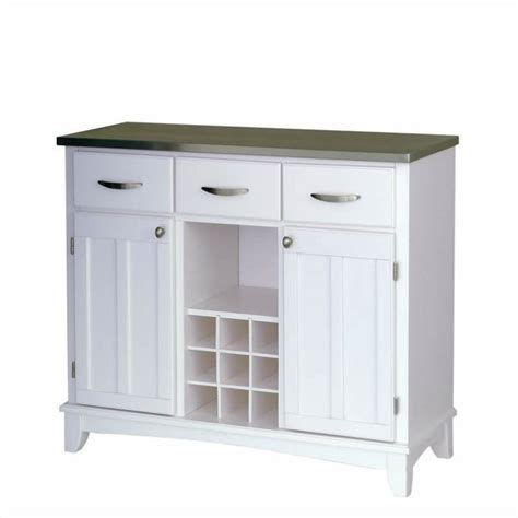 buffet kitchen furniture furniture large white base and stainless steel top buffet