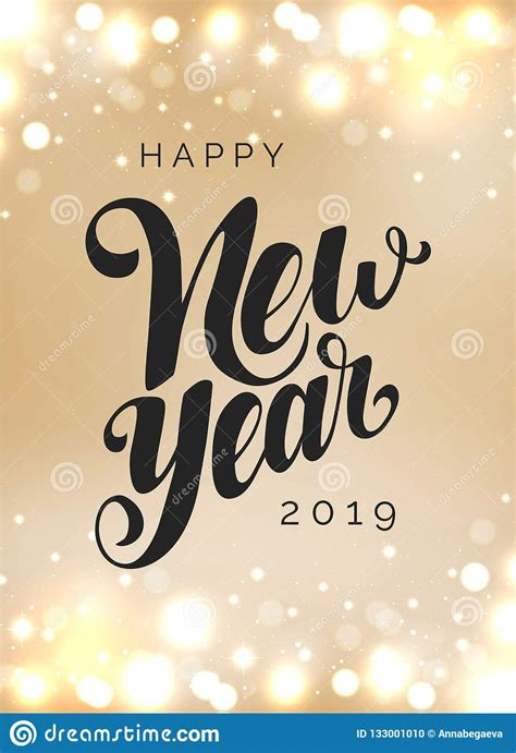 Happy New Year 2019 Vector Lettering Hand Drawn Clipart