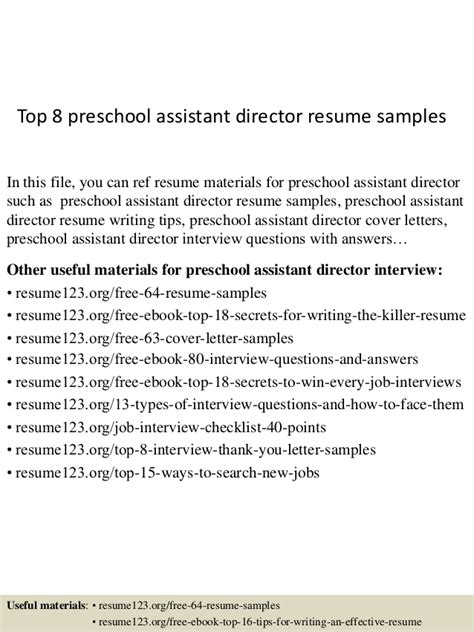 Resume For Preschool Assistant Director by Top 8 Preschool Assistant Director Resume Sles