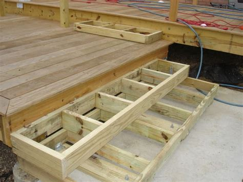 deck stairs landing  box stairs  patio