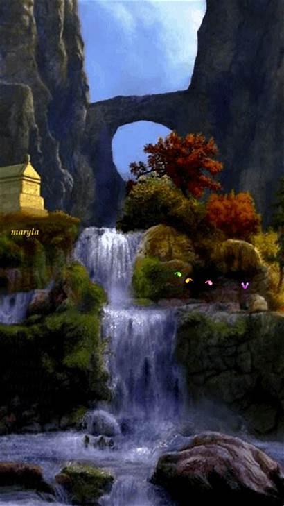Nature Gifs Animated Waterfalls Scenes Fall Summer