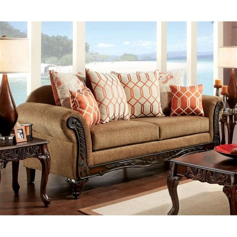 furniture of america sofa reviews furniture of america eden upholstered sofa in brown idf