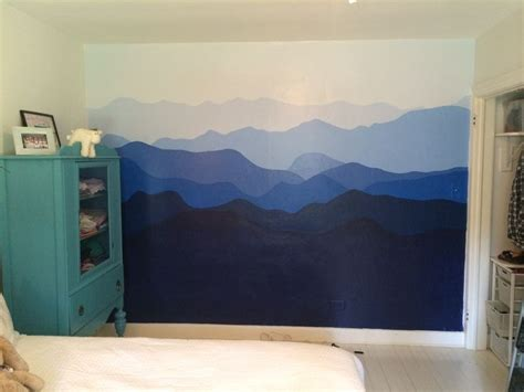 blue ridge mountains painted  bedroom wall interiors