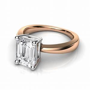 emerald cut solitaire diamond engagement ring in 14k rose gold With wedding band for emerald cut ring