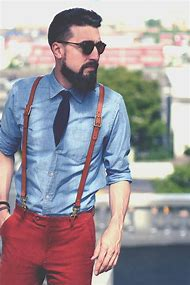 Red Shirt with Suspenders Men