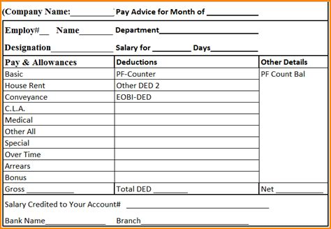 salary payslip format  excel   simple