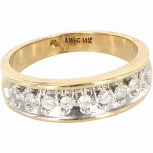 vintage 14 karat yellow gold diamond wedding band ring With 14 karat gold wedding rings