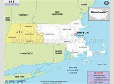 413 Area Code Map, Where is 413 Area Code in Massachusetts
