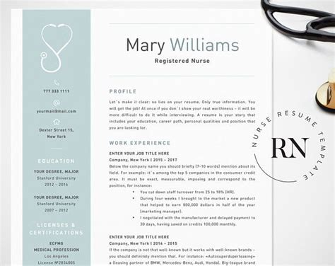 nurse resume template  word medical resume word nurse
