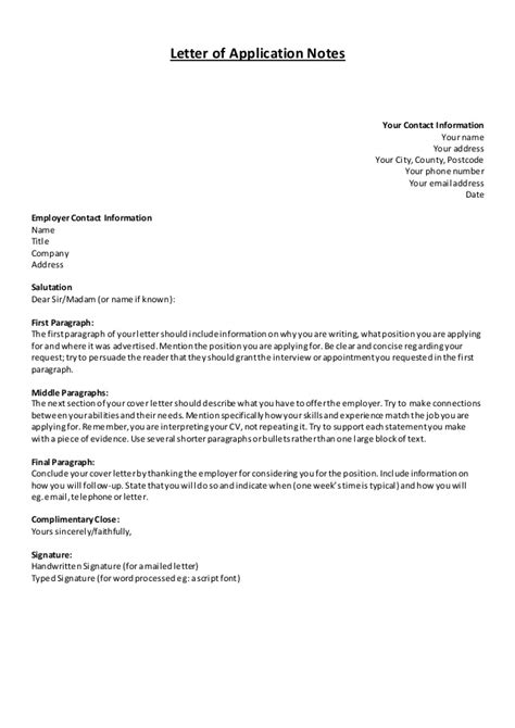 Notes & examplar letter of application and cv