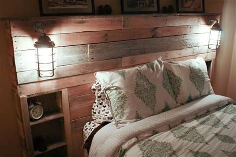 diy pallet headboard  lights pallet furniture diy