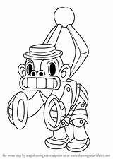 Cuphead Mr Chimes Draw Drawing Coloring Step Template sketch template