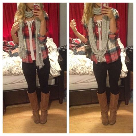 Fall casual date outfit #flannel #scarf | {fashionista} | Pinterest | Semi casual Flan and Boots