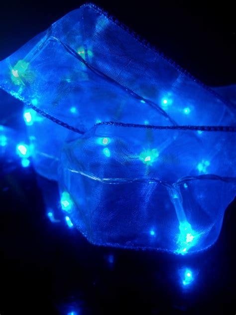 blue battery operated organza ribbon light