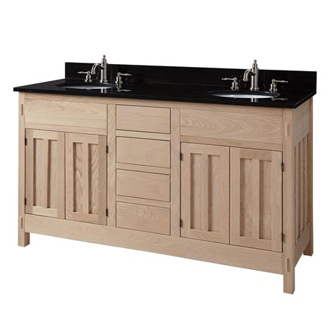 unfinished bathroom vanity cabinets 60 quot unfinished mission hardwood double vanity for