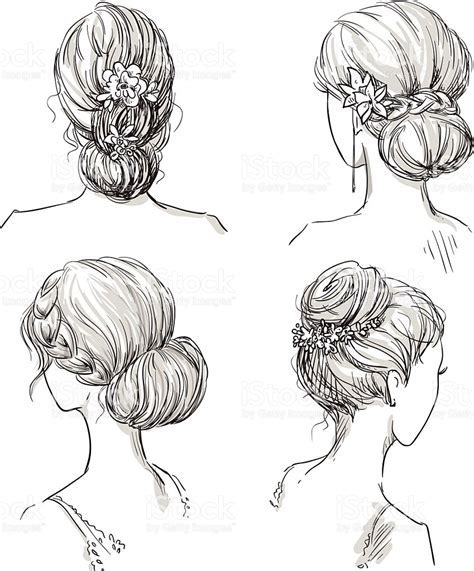 Set Of Hairstyles Bridal Hairdo Hand Drawn stock vector