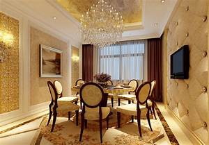 Gold dining room chandelier and TV picture Download 3D House