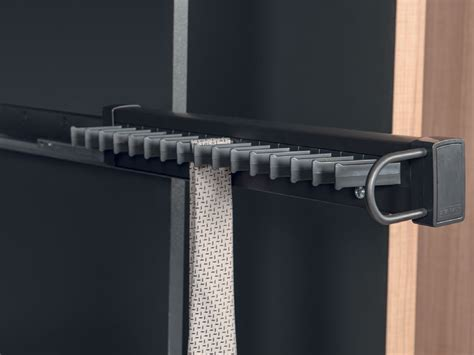 side mounted tie rack pull  anthracite soft close