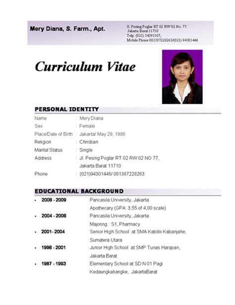 best photos of curriculumvitae template word free