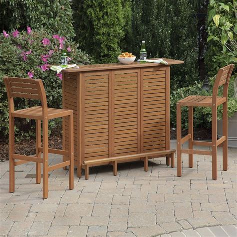 shop home styles 3 slat seat wood patio bar height