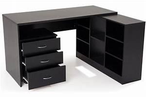 Bureau Bois Pas Cher : bureau en imitation bois noir avec retour flash bureau ~ Teatrodelosmanantiales.com Idées de Décoration