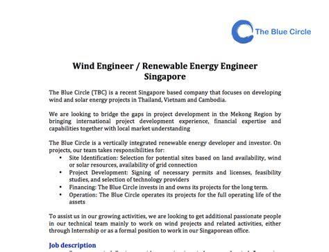 Wind Energy Engineer Resume by Wind Engineer Renewable Energy Engineer Singapore The Blue Circle