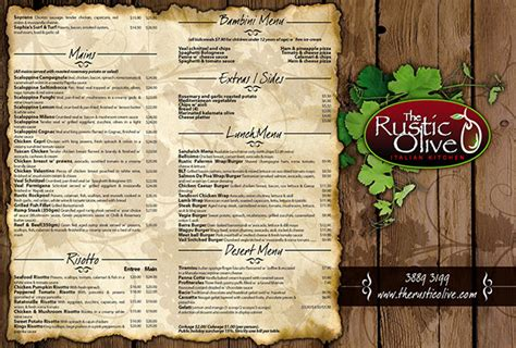 Rustic Olive Menu On Behance