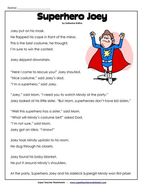reading comprehension worksheet 2nd grade reading