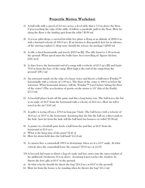 projectile motion worksheet with answers projectile worksheet