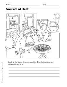 Sources Of Heat Worksheet For 2nd  3rd Grade  Lesson Planet