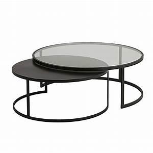 Table Basse Gigogne Verre : table basse en verre tremp et m tal noir le bois chez vous ~ Teatrodelosmanantiales.com Idées de Décoration