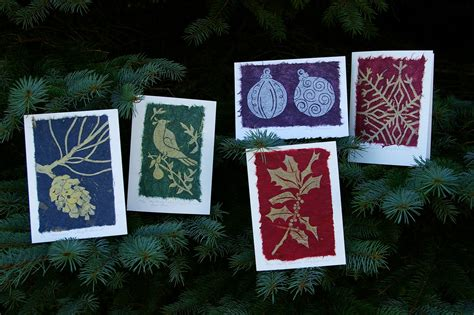 holiday collection  linocut greeting cards