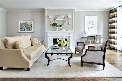 contemporary gray living room  cream sofa luxe