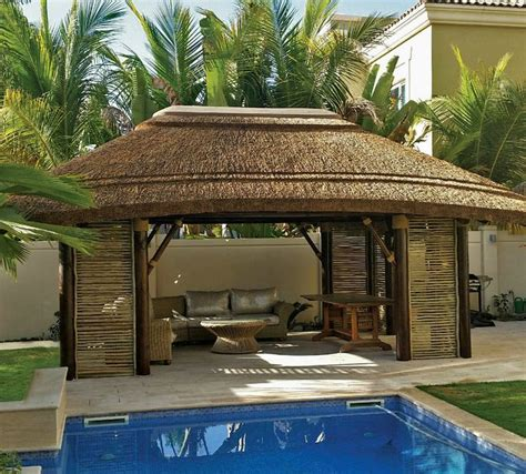 Thatched Roof House With Outdoor Entertaining Spaces by Thatched Gazebo With Lath Sides For Decor For