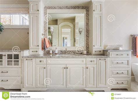 master bathroom cabinets sink  vanity stock photo image