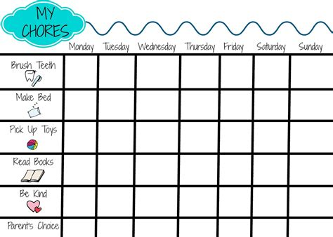 Free Printable Toddler Chore Chart Template Chores Chart Free Printable Chore Charts For Viva