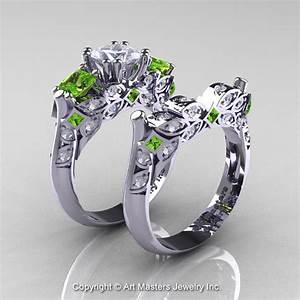Classic 14k white gold three stone princess white sapphire for Peridot wedding ring set