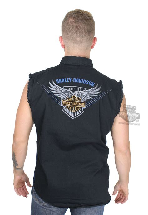 harley davidson mens  anniversary enzyme wash black sleeveless blowout