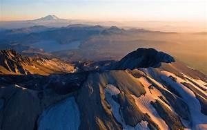 mountain mount st helens lake snowy peak