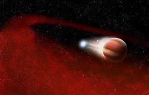 This artist concept shows a debris disk in a cataclysmic ...