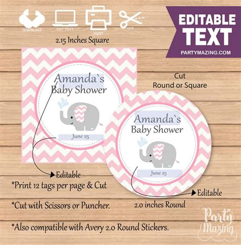 Wedding favor tags template souvenir favour free the beautiful as. Pink Elephant Printable Baby Shower Gift Tag E065 ...