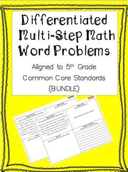 differentiated multi step math word problems  grade