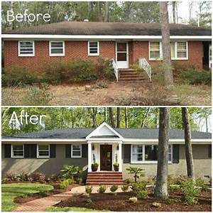 Before after adding porch and shutters painting brick for Painting over brick exterior