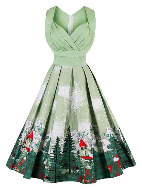 pistachio 2xl christmas vintage forest print ruched pin up